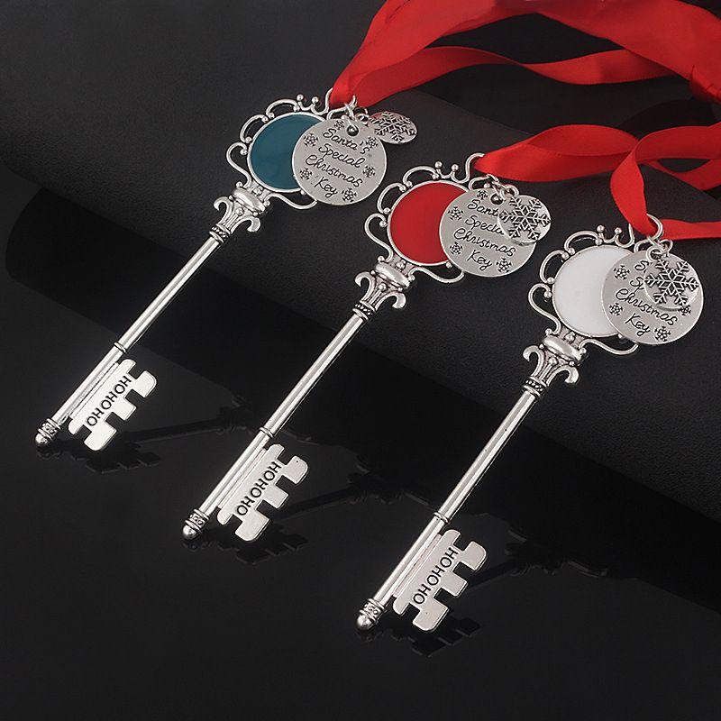 Schneeflocke Schlüsselanhänger Anhänger Dekoration Magie Weihnachtsmann Weihnachten Schlüsselanhänger Baumschmuck Geschenke DIY Halskette Schmuck-Partei Props GGE2117