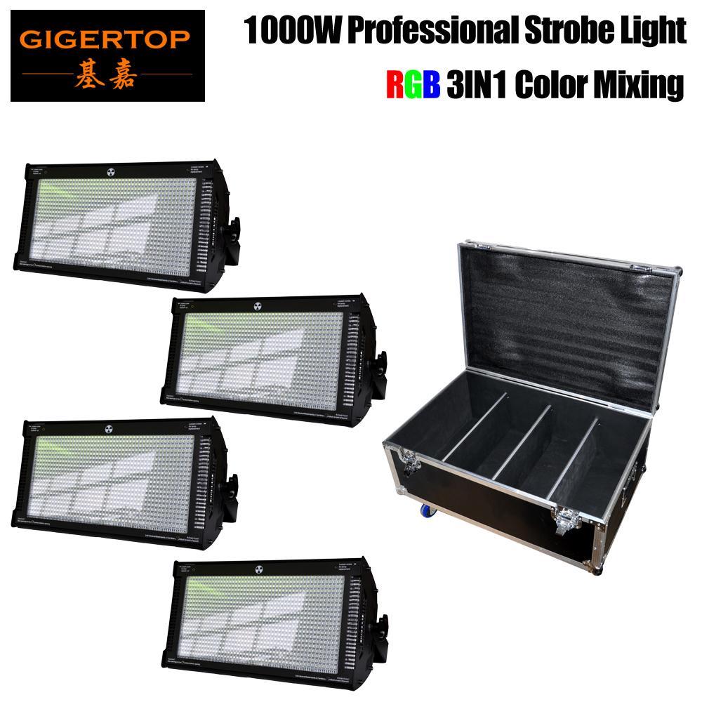 GIGERTOP 4IN1 Flightcase com rodas RGB LED Strobe Strobe Light DMX-512 PAR DISCO DJ Festa Iluminação 1000W Alta Brighness