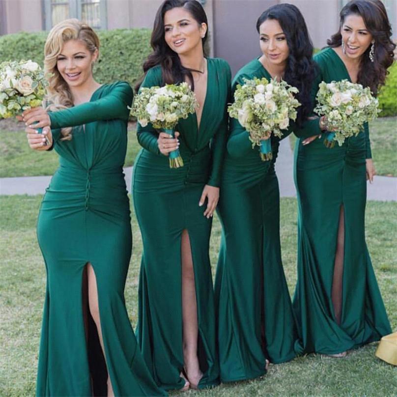 Blygsamma långärmade brudtärna klänningar 2021 grön v nacke sjöjungfru split bröllop gästklänning plus storlek piga av ära klänningar