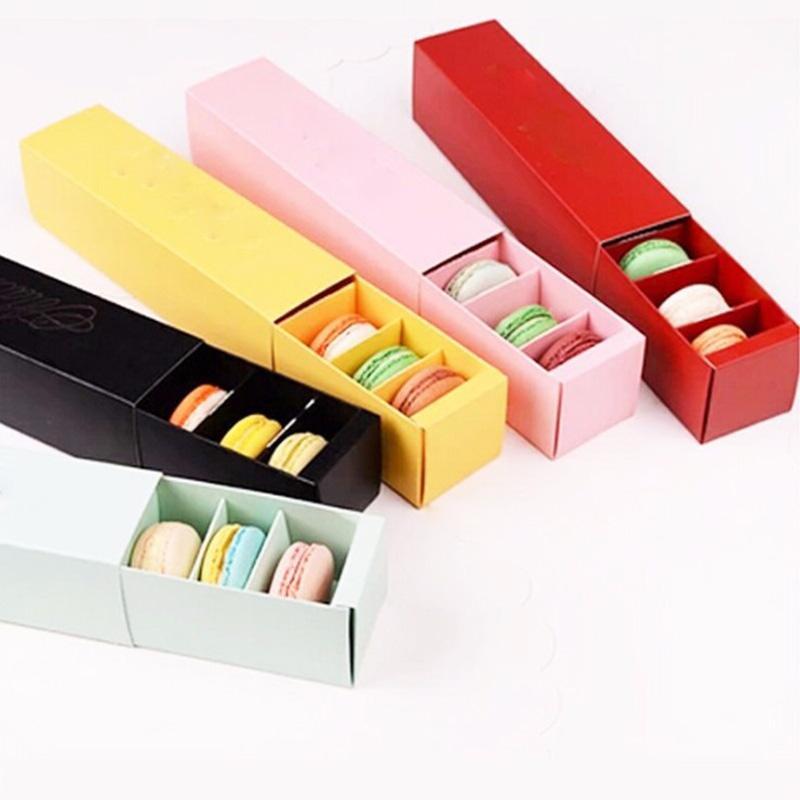 4 ألوان علبة مكرونة مربع كعكة صناديق المنزل المعكرون مربعات الشوكولاته البسكويت الكعك مربع التجزئة ورقة التعبئة والتغليف 20.3 * 5.3 * 5.3 سنتيمتر