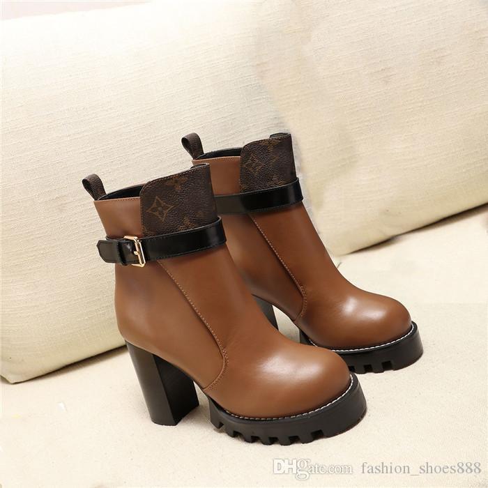 moda botları, Renk eşleştirme kalın topuk deri çizme Womens, Yüksek Kutu Boyutu 35-42 ile kalın tabanları bot topuklu