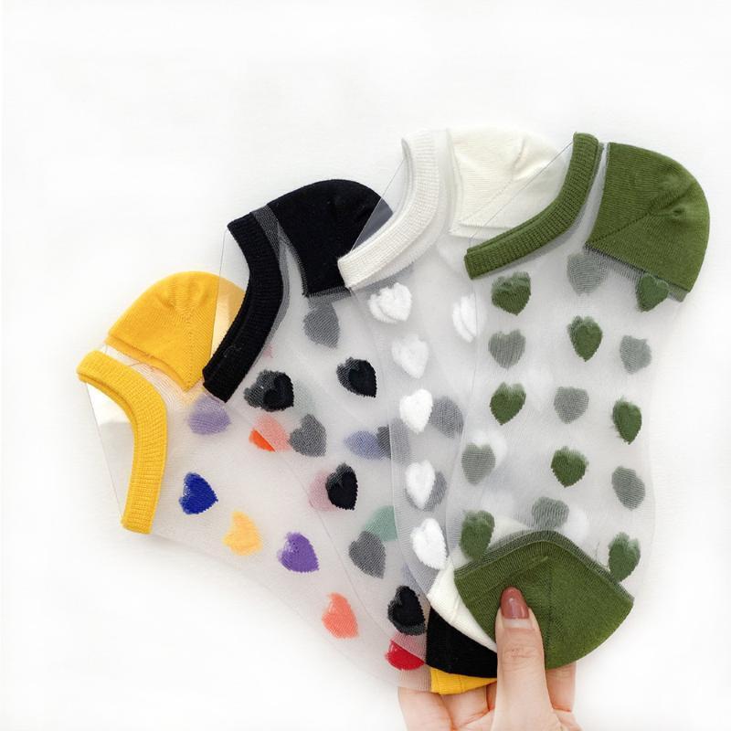 Socken Strumpfwaren Mode Frauen Herz Socke Hausschuhe Farbe Sommer Stil dünne niedliche transparente Knöchelgeschwinde