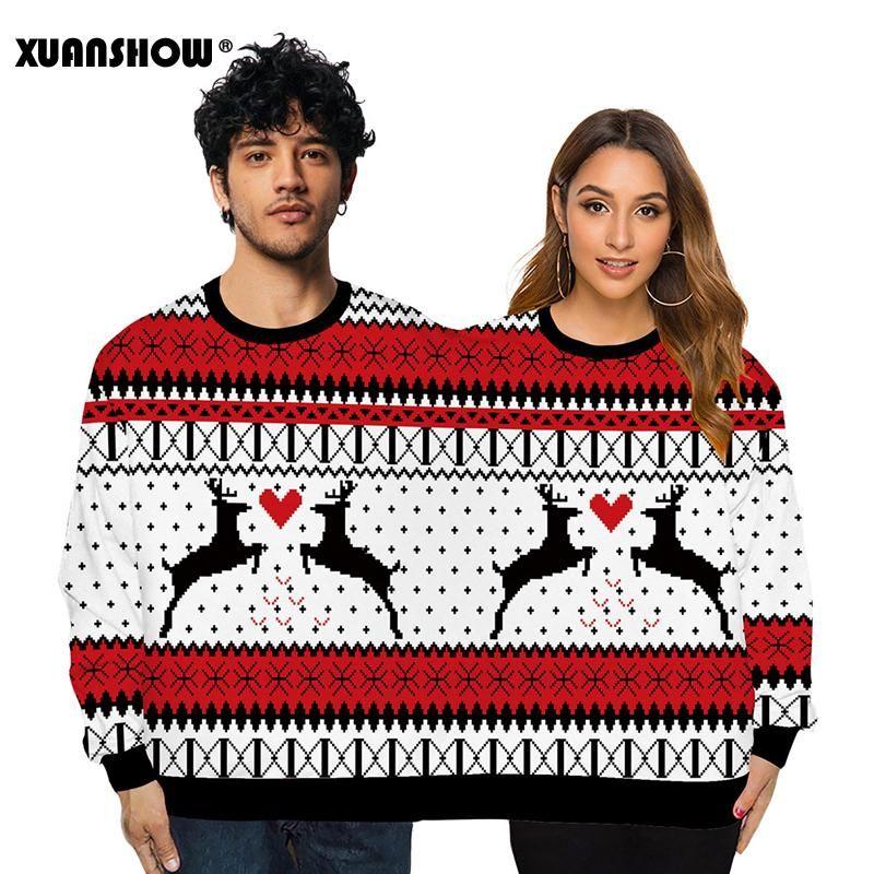 Women's Hoodies & Sweatshirts Christmas Clothes Digital Printing Couple Wear Round Neck Two People Sweatshirt Creative Long Sleeve Tops