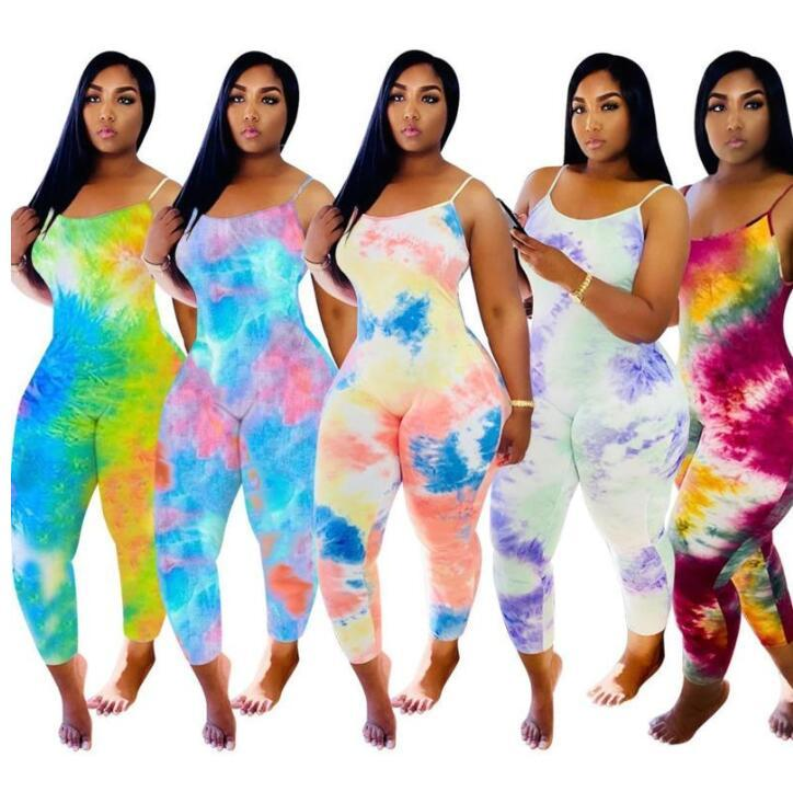 넥타이 염료 슬링 파자마 디자이너 여성 Jumpsuit Onesies 민소매 여름 playsuits rompers 플러스 사이즈 바지 여성 의류 zyy314