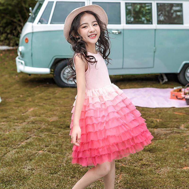 Dziewczyny Dresses Girls Princess Tutu Dress Summer Kids Party Stroje Sweet Fluffy Vestidos