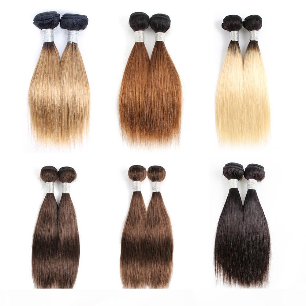 Bombes de tissage de cheveux humains bon marché ombre blonde brun brun bob 10-12 pouces 2 4 paquets SET MALAISIAN Coiffures droites Remy Extensions de cheveux