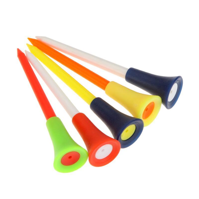 Multi Color 8.3CM Plastic Golf Tees Durable Rubber Cushion Top Tee Golfs Accessories random colors