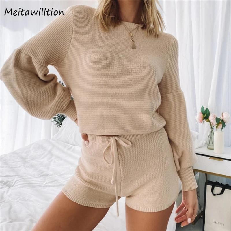 2020 Herbst 2 Stück Set Trainingsanzüge Herbst Winter Grundlegende Frauen Pullover Pullover + Shorts Sporting Anzug Damen Zwei Stück Sets