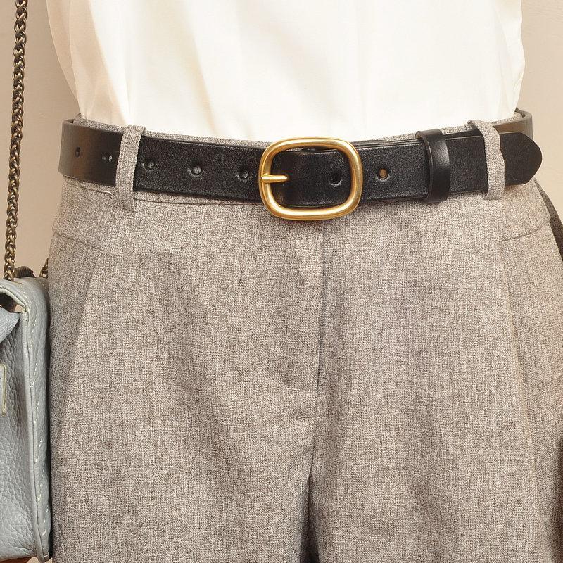 cuir de femmes boucle de cuivre polyvalent pantalon jeans ceinture décorative ceinture noire, pur cuir de vache, pas de trous