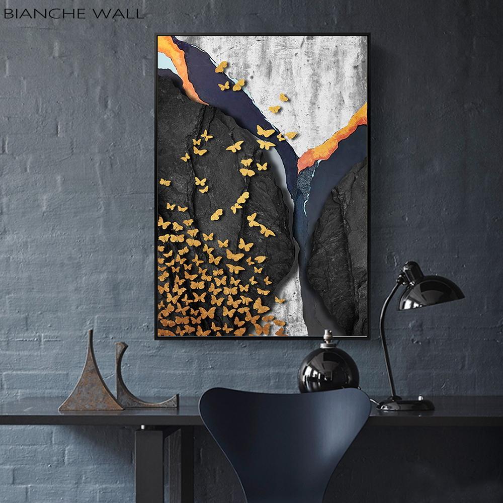 İskandinav Özet Mermer Altın Kelebek Modern Tuval Wall Art Poster Özet Dekoratif Resim Boyama Baskı Boyama