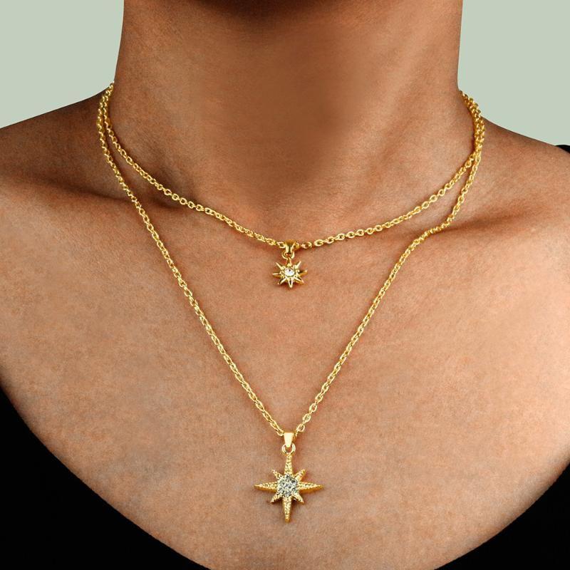 النساء المجوهرات هندسية شكل الشمس سبيكة قلادة الأزياء الرجعية قلادة للنساء قلادة متعدد الطبقات المختنق