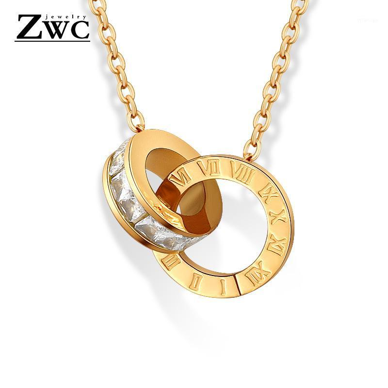 ZWC New Fashion Luxury Gold Color Roman Numeral Necklace Pendants for Women Wedding Party Stainless Steel Necklace Jewelry Gift1