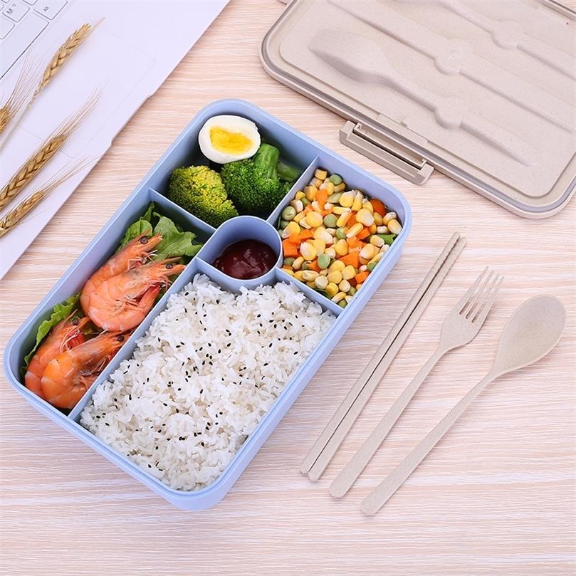 Nova caixa de almoço à prova de vazamento Bonito Creative Capacidade Bento Box Home Office Student Portátil Durável Miúdos Durável Recipiente de Alimentos 201210