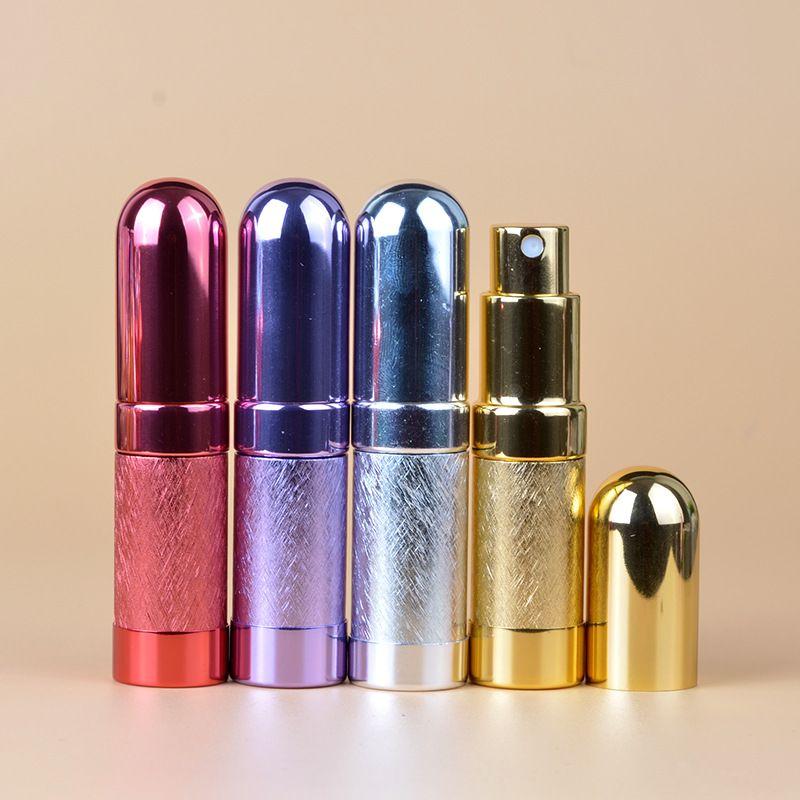 50pcs / lot Pompası 6ml Mill Finish Cap Mat Polonya Koku Şişe Bullet Şekli Doldurulabilir Eloksallı Alüminyum Cam Perfume Spray