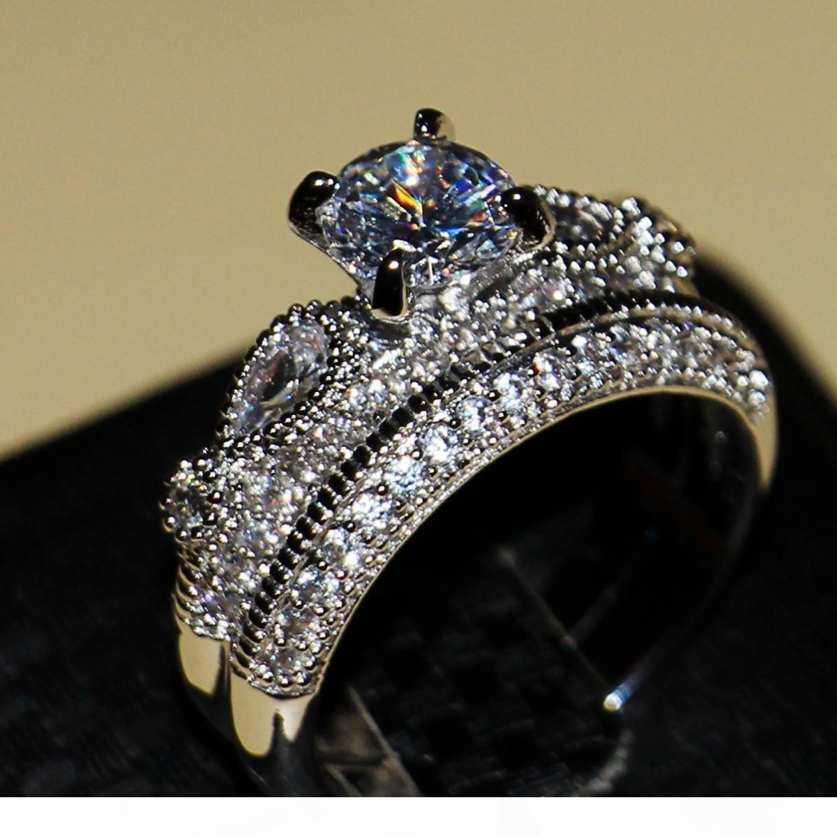 K all'ingrosso spedizione gratuita caldo gioielli di lusso Stunning 925 sterling argento rotondo taglio bianco zaffiro cz diamante wedding donne anello set si