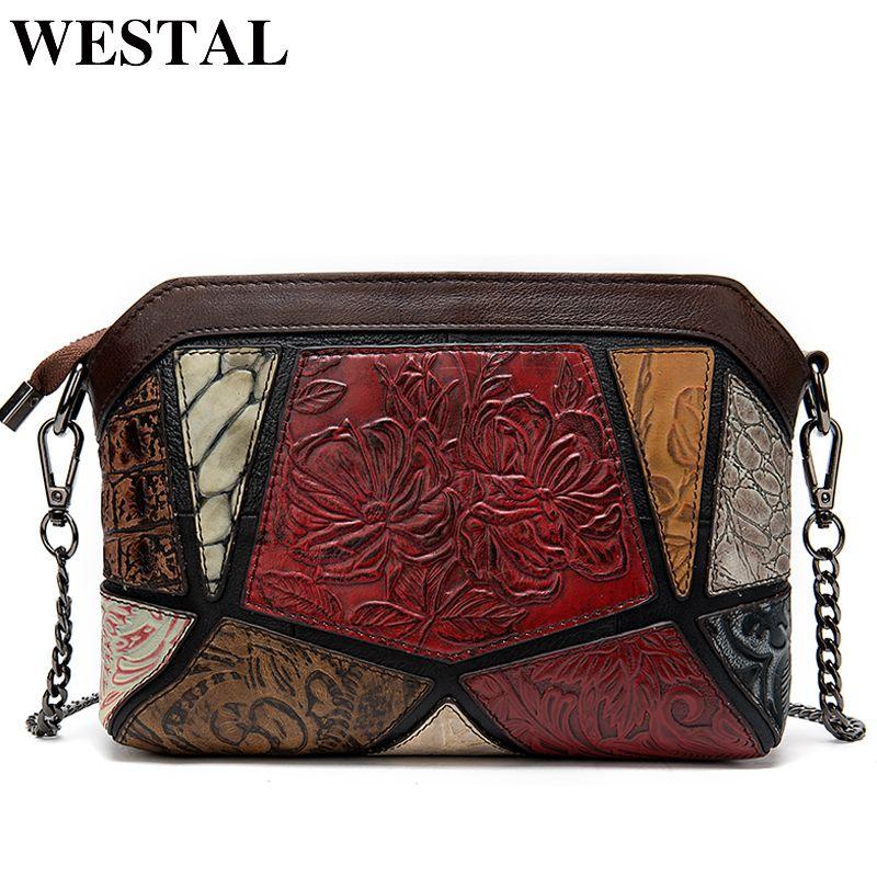 Westal Umhängetaschen für Frauen Vintage Damen Tasche Echtes Leder Präge Muschel Tasche Weibliche Messenger / Crossbody Taschen Handtaschen