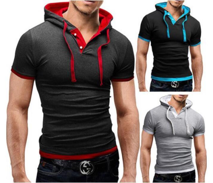 Moda Slim Fit Polos Üstleri Gömlek T Erkek Erkekler Şapka Kollu T-Shirt T-Shirt Hoody Polo Casual Kısa Giyim Huors