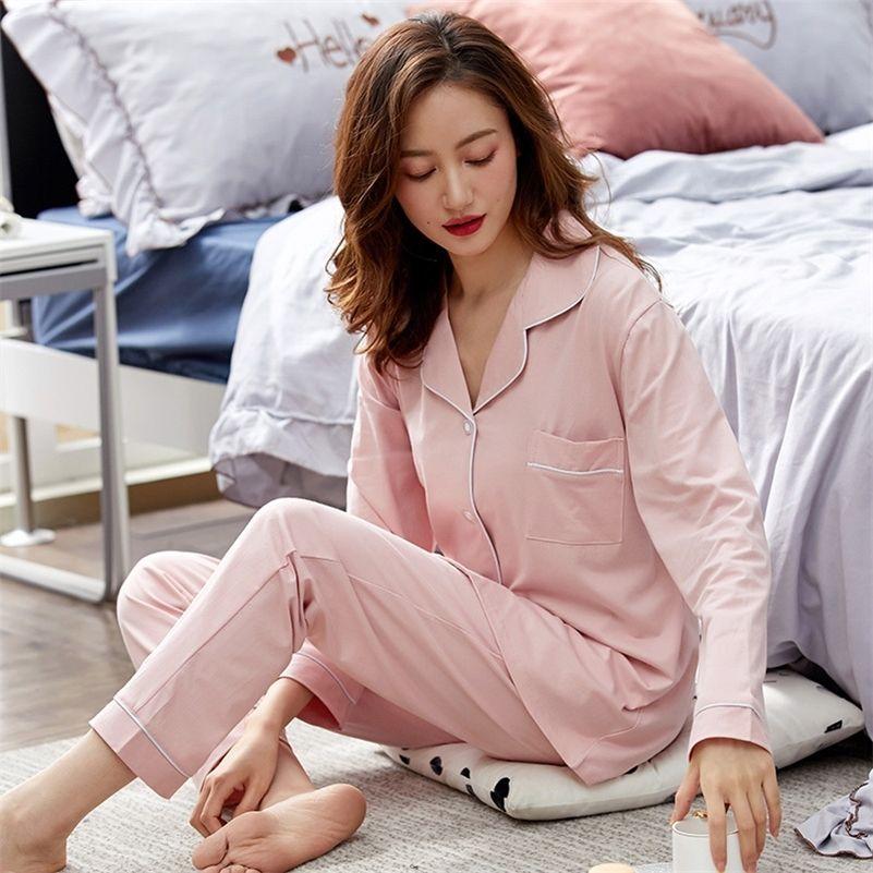 Mulheres 100% algodão pijama inverno quarto rosa quarto sleepwear pj para senhoras pijamas mujer dormir casa roupas puro algodão pijama femme 201103