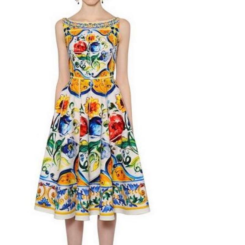 New Designer Luxus Frauen Kleider Slash Neck Sleeveless Weiblich Milan Runway Kleid Flore Gedruckte Kleider Vestidos de Festa P158
