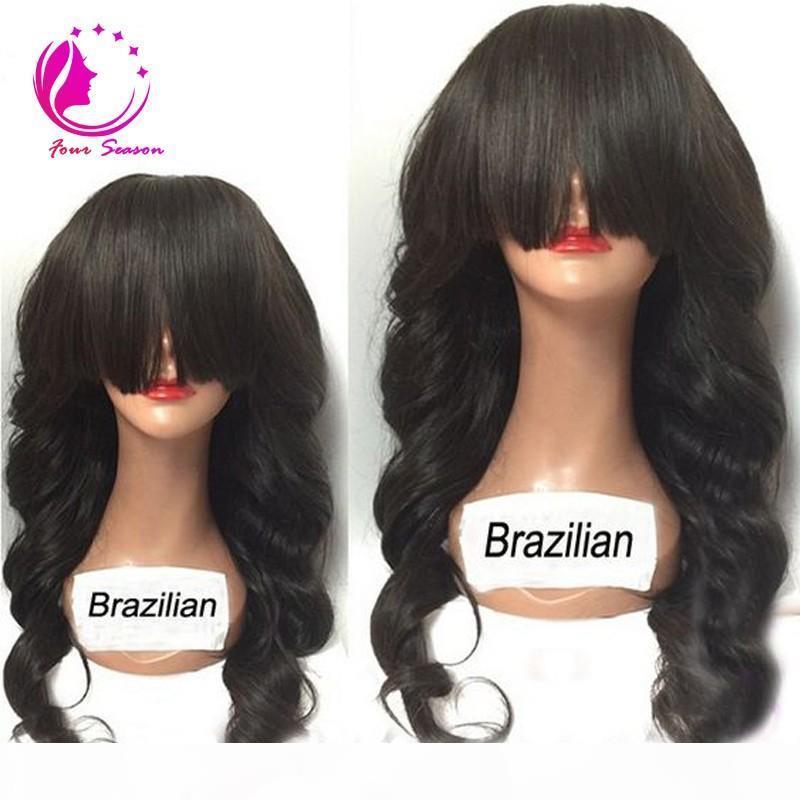 Perucas de cabelo humano de renda brasileira para mulheres negras corporal onda de laço dianteiro perucas de cabelo humano sem glútes com franja completa
