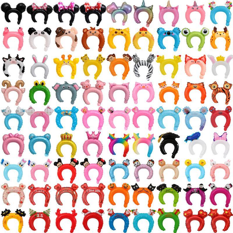 Atacado Crianças Headband Cartoon Animal Balões 50 pçs / lote Alumínio Foil Headwear Balão Meninas Head Band