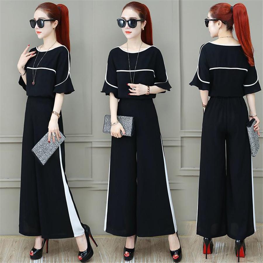 2020 Office Lady Ropa Set Mujer Summer Blusa suelta O Cuello Tops + Pantalones de pierna grande Trajes T200702