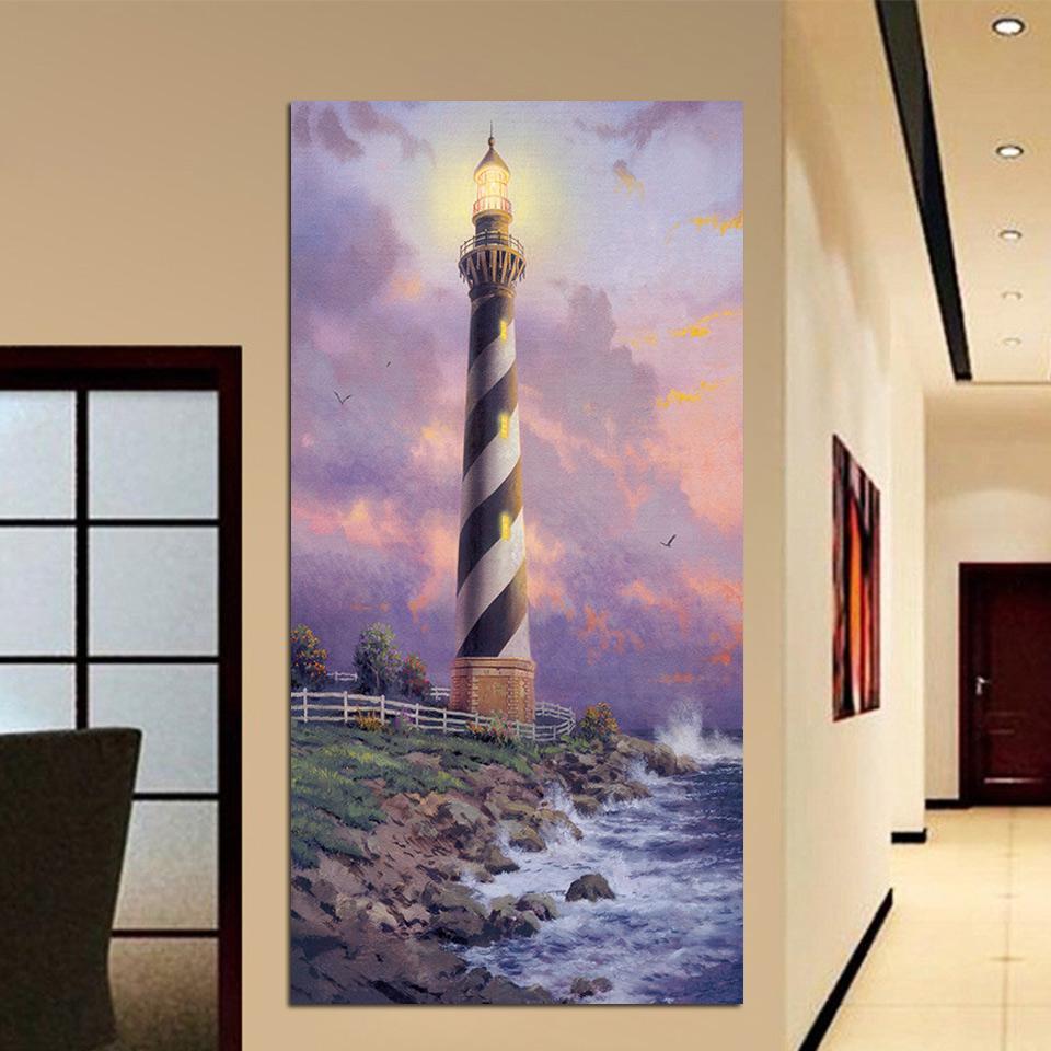 1 Панель Приморский маяк Стена Искусство Плакат Модульные Холст HD Печать картин Картины Фото Декор для гостиной
