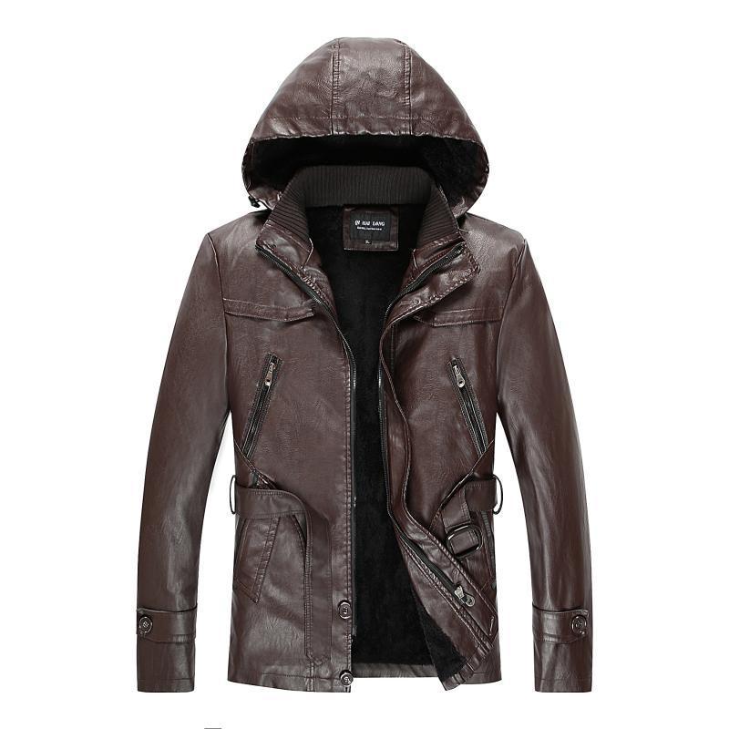 الرجال الفراء فو 2021 أزياء جلدية الشتاء المخملية الدفء سترة الذكور دراجة نارية سستة يتأهل بو جاكيتات معطف