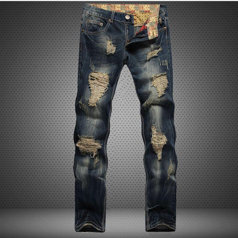 1J сломанная дыра модная прямая трубка Slim Fit Inward Trade джинсы старая личность оригинальные мужские брюки