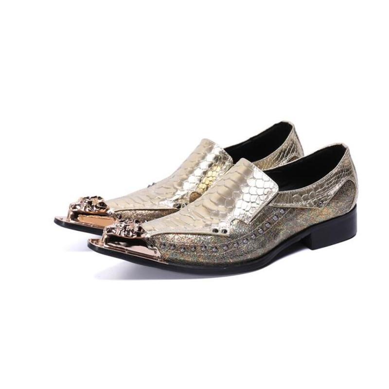 New Business Homens Rivet Dress Shoes Moda Padrão de Escala de Peixe Padrão Homens Apontados Dança Sapatos Social Sapato Homens Oxford Wedding Flats