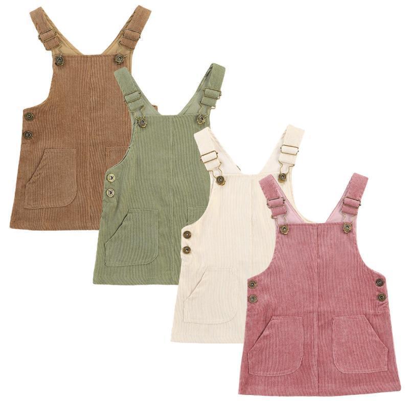 Kızın Elbiseleri Bebek Kız Tulum Elbise 0-3Y Katı Düğme Düz Güzel Bib Straplez