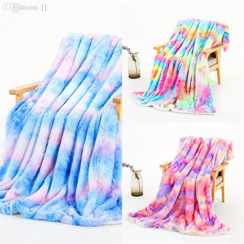5YDZ Solide Couverture épaissie épaissie Couleurs Rainbow Couleurs Lait Chaud Couverture de corail Couverture de Fibre de polyester Simple Couvertures Soft Soft Couverture avec
