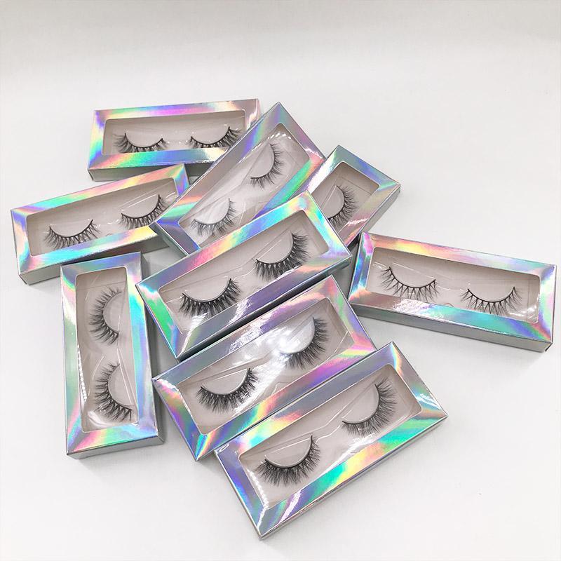 Más nuevas pestañas de visón 3D 8-10mm Longitud corta de longitud hecha a mano Pelo de la tira completa Palezas Mink natural Pestañas falsas