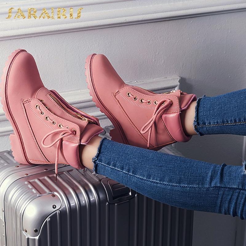 Botas Sarairis Marca más Tamaño 43 Moda Más colores Shoelaces Winter Otoño Mujeres Zapatos Tobillo