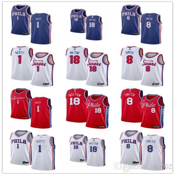 Мужская женская молодежьФиладельфия76ers.1 Майк Скотт 18 Shake Milton 8 Zhaire Smith Пользовательские баскетбольные трикотажные изделия Серый белый синий красный