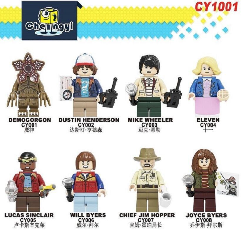 8 styles Stranger Things Building Blocks toy Demogorgon Dustin Henderson Mike Eleven Lucas Will Figures Collection Kid birthday Gift