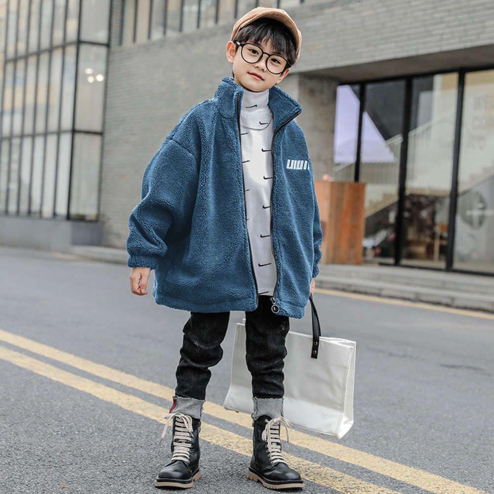 Детские мальчики Новая осень и 2020 зимняя одежда модная письма тиснение ягненок шерстяное пальто средней длины молнии кардиган 9nz6