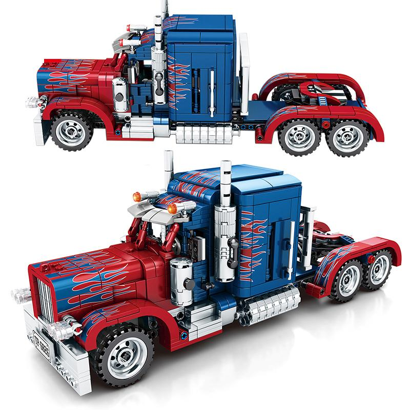 849pcs Peterbilt 389 Heavy Container Truck building blocks Technic City Classic Pull Back Car Toy Gifts For Children Kids Q1126