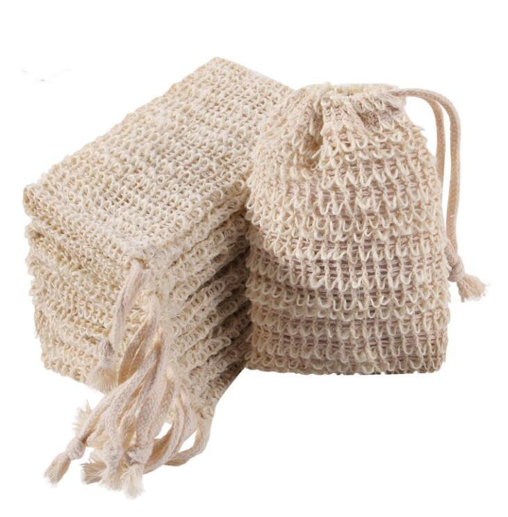 Soap Exfoliating Bag Pouch Soap Saver Natural Ramie Soap Bag Hand Made Mesh Dishes Bags with Drawstring for Bath Shower Use