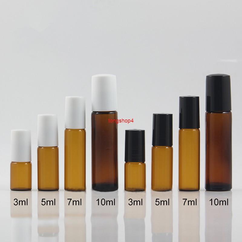 Brown Glass 3ml 5ml 7ml 10ml rotolo vuoto su bottiglia per profumo massaggio Essenza Accessori per olio per il rullino da viaggio Contenitore GRATUITO SPEDIZIONE GRATUITAMENTE