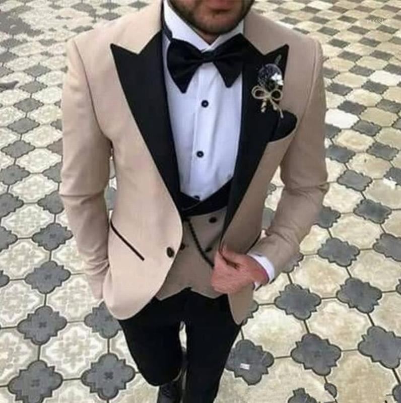 Abiti da uomo Blazer Blazer Champagne con risvolto nero per uomo Tuxedo Groom Suit da sposa TERNO SLIM SLIDA SADOR-MENS MENS MASCULINO 3PCS1