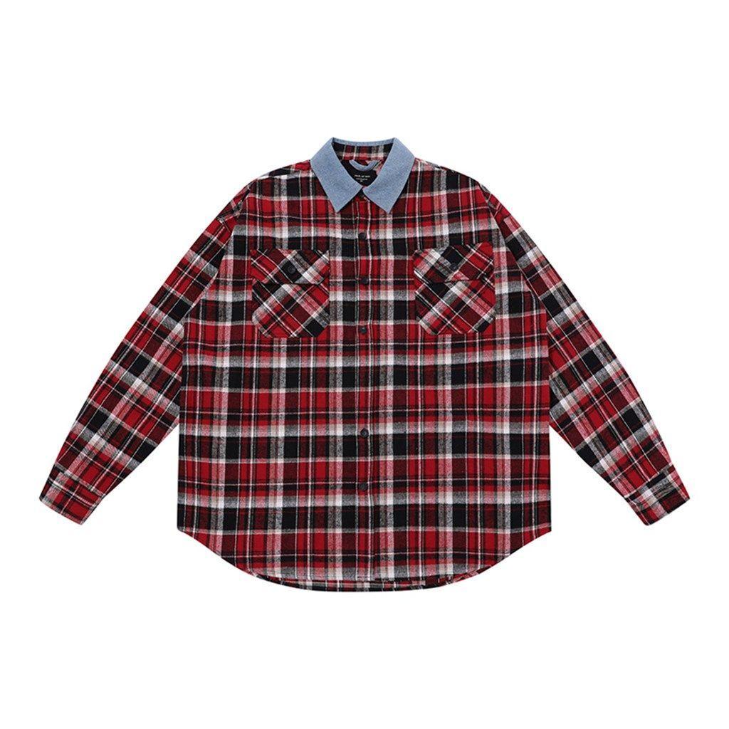 2020 New Designers Shirts Mens Clothing Denim Collar Plaid Shirts Shirt Jacket Jacket Fashion Casual Long Sleeve Men Shirt A11