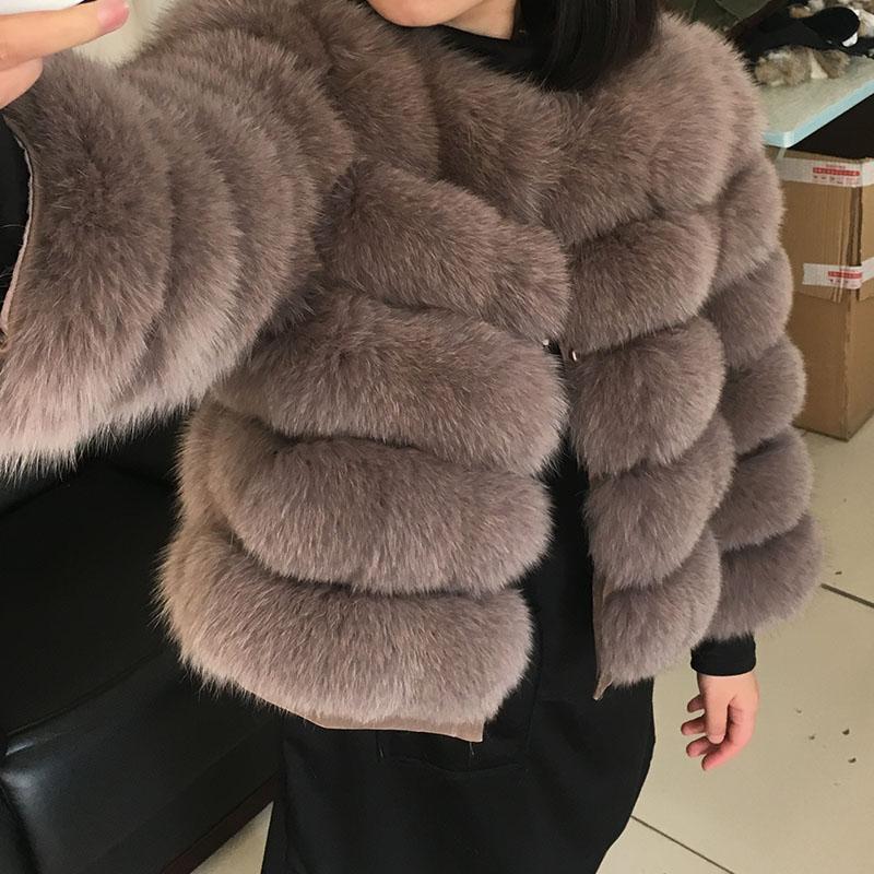 2020 NUEVO Abrigo de invierno 50 cm Fox Natural Four Abrigo Mujeres Invierno Chaleco de piel natural Chaqueta Moda Silm Outwear Real Faux Piel Chaleco Abrigo Fox