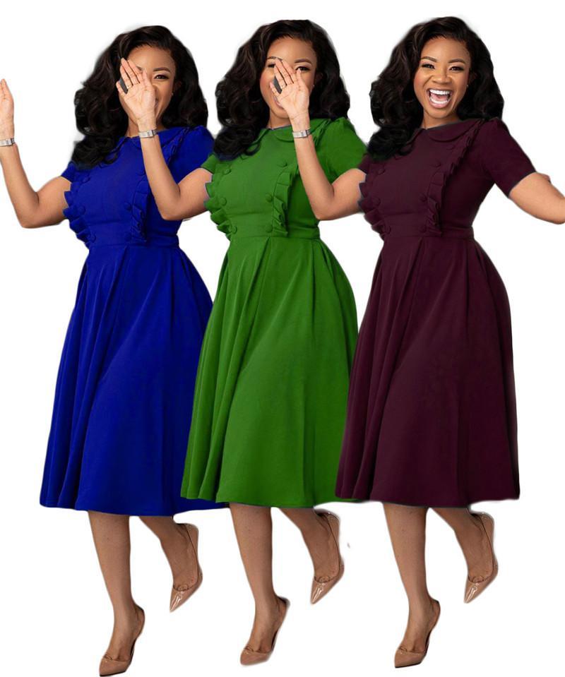 Katı Renk Bayan Tasarımcısı Elbiseler Sevimli Bebek Yaka Stringy Selvedge Bayan Elbiseler Düğmeleri Ile Rahat Kadın Giyim