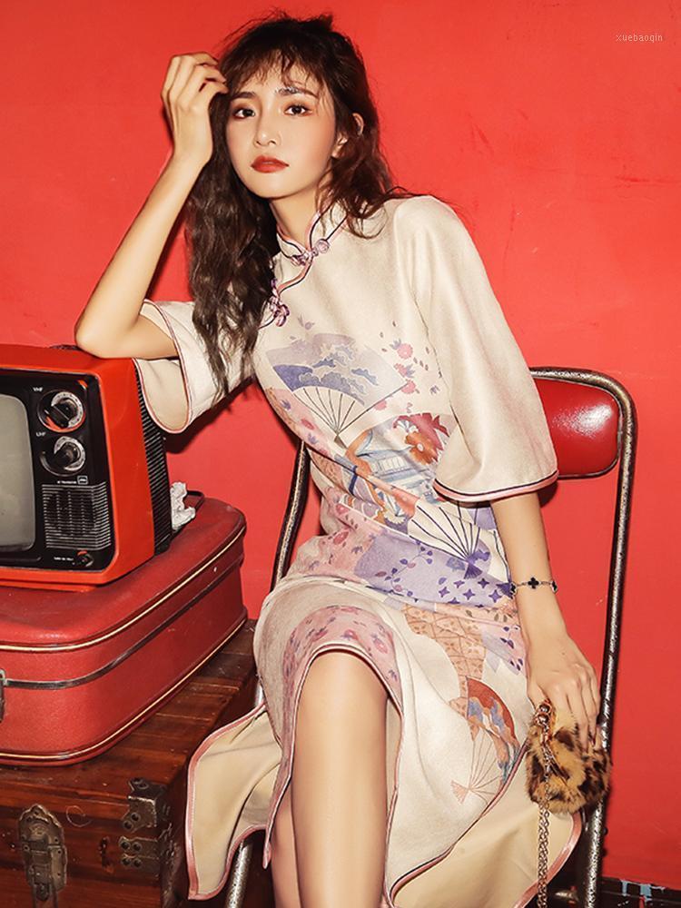 Этническая одежда ретро китайский стиль свободно плюс размер с длинным рукавом Cheongsam1