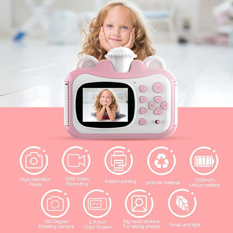 Pickwoo Children Mini Linda Cámara de Impresión Digital DIY Impresión de fotos Grabadora de video Videocámara Niños Big Head Etiqueta de regalo Cámaras C1204