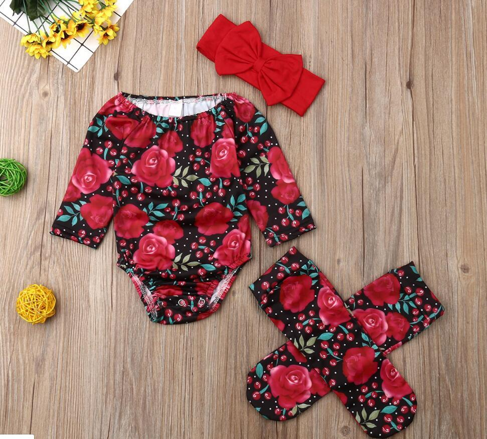 2020 New Newborn Baby Girls Flower Bodysuit Jumpsuit + Socks + Headband 3Pcs Outfits Toddler Baby Girl Clothes Sets