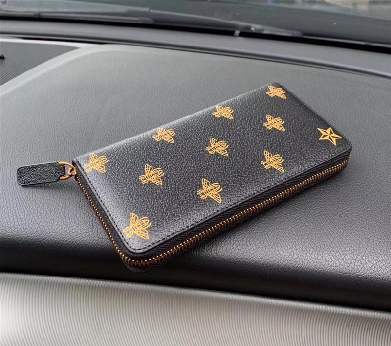 Frete Grátis Worldwide Tamanho 19cm Classic Moda Couro Zipper Carteira Titular Chave Caixa Chave Melhor Qualidade Moeda Bolsa Embreagem