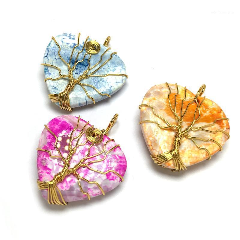 Encantos de pedra natural Quartzo pingente de ouro cor envoltório forma coração forma pingentes para jóias fazendo DIY colar acessórios1