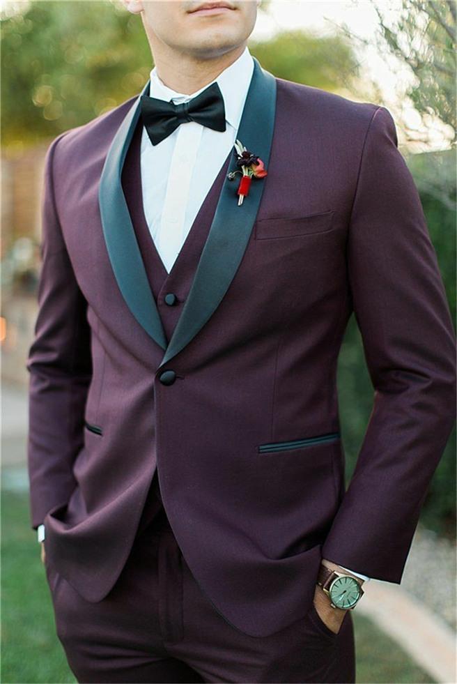 New Arrival Groomsmen Burgundy Groom Tuxedos Shawl Black Lapel Men Suits Wedding/Prom/Dinner Best Man Blazer ( Jacket+Pants+Tie+Vest ) G144
